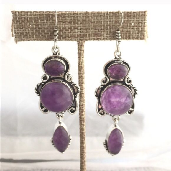 Amethyst & Silver Earrings PRICE FIRM/Bundle for discount.  Super pretty amethyst earrings set in silver (not marked but feels heavy enough to be the real thing; I'm not sure).  Buy these because you like them, but not if they must be silver, because I cannot guarantee it.  New, never worn.  Check out all the beautiful & unique jewelry in my closet!  Reasonable offers considered. 🚫NO TRADES 🚫  🆓💄Free Beauty Sample With Purchase!!💄🆓 Code 14425. Jewelry Earrings