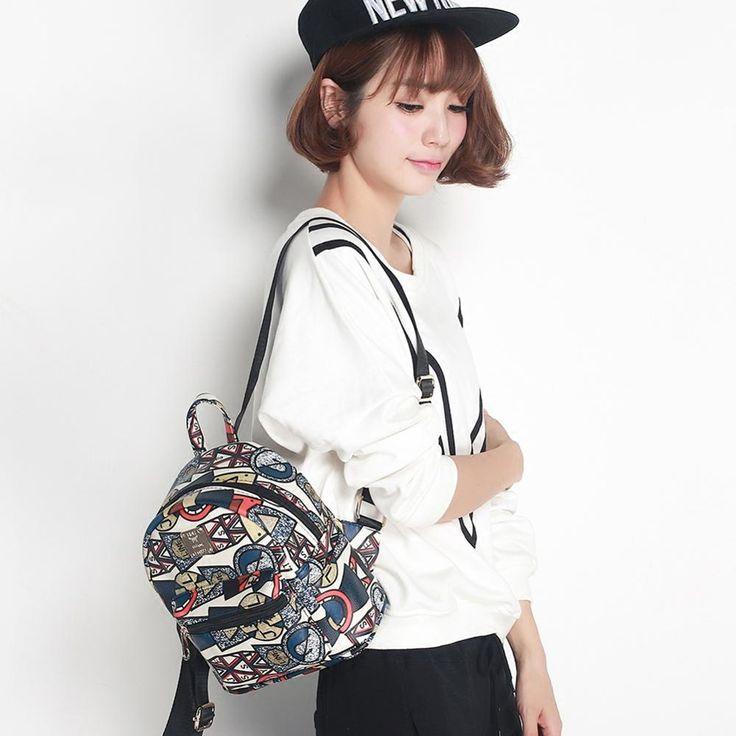 Mini Printing Backpack Girl Student Backpack Kawaii Cartoon Wemen Spring And Summer New Korean Fashion Hand Painted Backpack #Affiliate