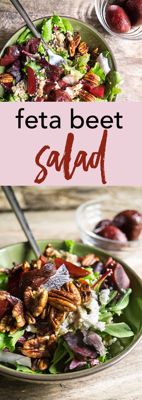 A meal in a salad! Candied nuts, roasted beets, salty feta, quinoa, and salad greens all drizzled with a sweet balsamic dressing!