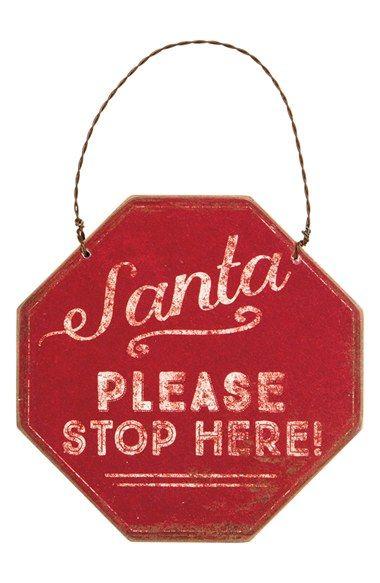 Primitives by Kathy 'Santa Please Stop Here' Ornament