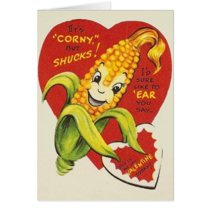 Vintage Anthropomorphic Corn Valentine Card - retro gifts style cyo diy special idea