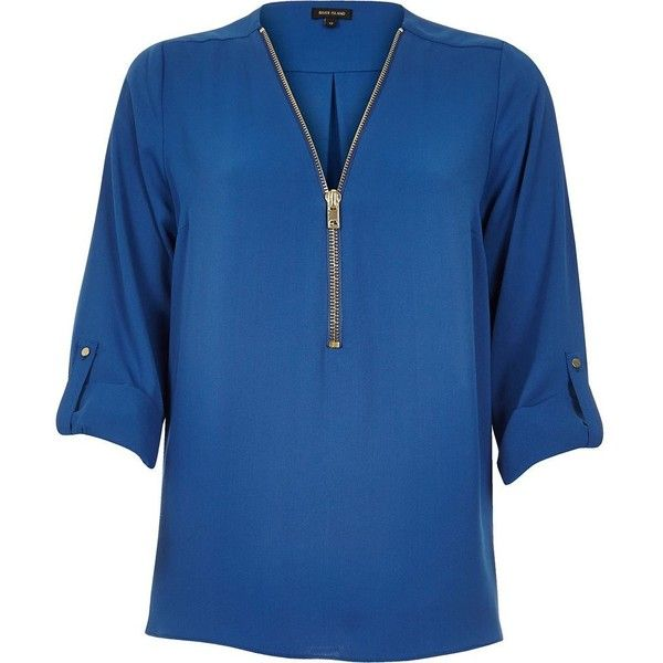 River Island Blue zip-up neck shirt ($72) ❤ liked on Polyvore featuring tops, blue, blue top, blue long sleeve shirt, shirts & tops, tall long sleeve shirts and long sleeve tops