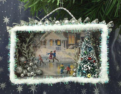 'Skating Party' Christmas card shadow box -