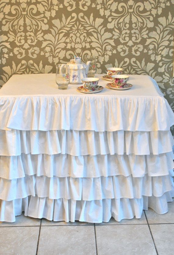 Marvelous White Ruffled Tablecloth