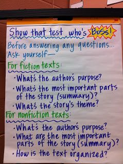Reading test prep:  show that test who's boss