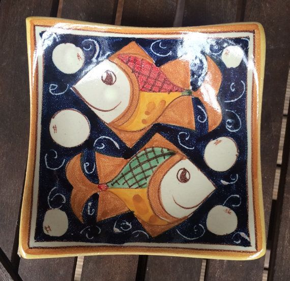 Italian pottery  square ceramic dish  fish by ItalianBespokeArt