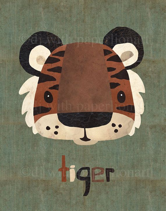 Here's a cute tiger print ready to frame for a nursery or kids' room (or for the young in heart). Sale price $22.50 To see all of paperlionart's work go to https://www.etsy.com/shop/paperlionart SALE Tiger...Oh My Print 11x14 by paperlionart on Etsy