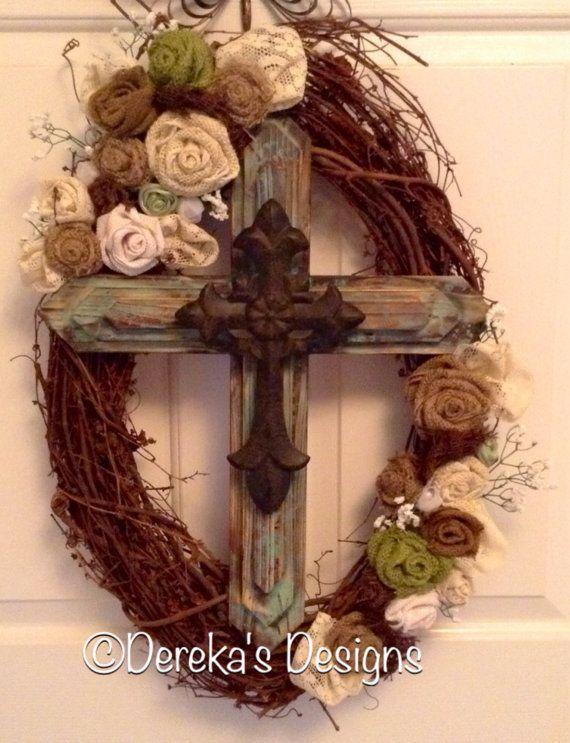 Grapevine Wood and Metal Cross Wreath with by DerekasDesigns