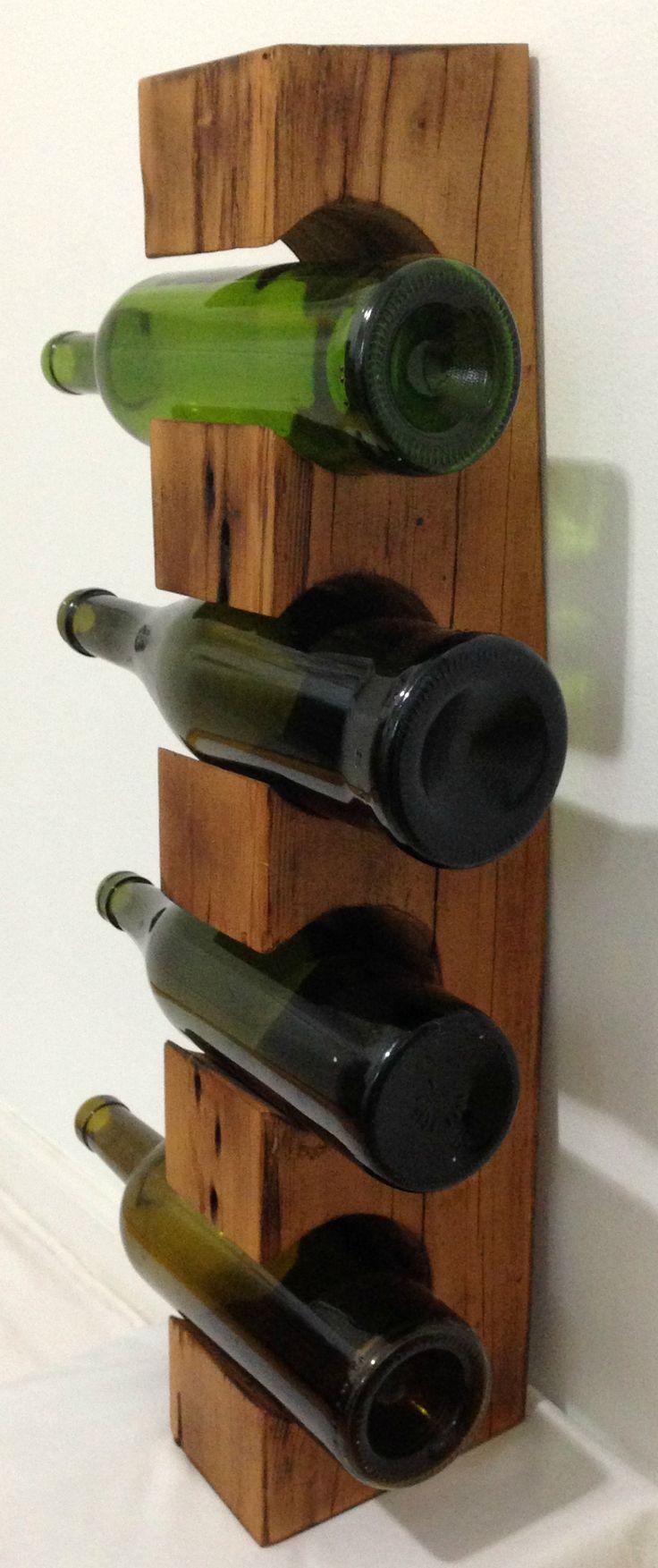 Handcrafted countertop wine rack #Hemlock #barnwood #reclaimed #handcrafted #wine #freestanding #decor #gift #MyCRO #WM