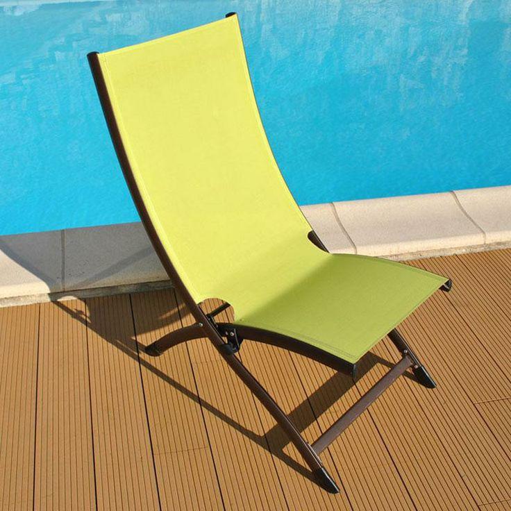 Transat pliant Lounge SUMMER coloris Rouille Lime - Maison Facile : www.maison-facile.com