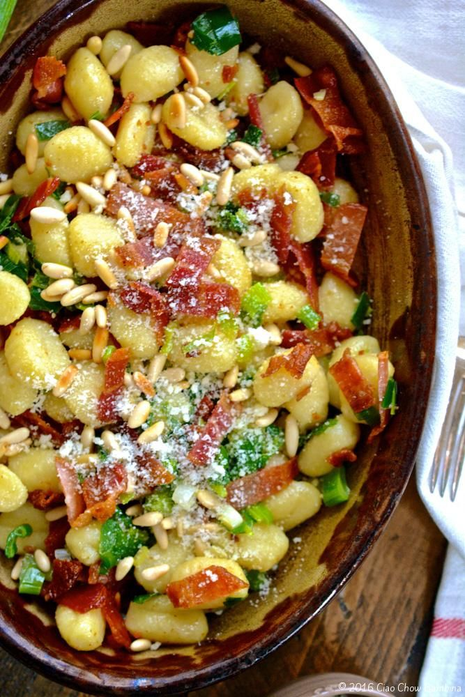 Gnocchi with Crispy Bacon, Scallions, Toasted Pine Nuts & Parmesan ciaochowbambina.com