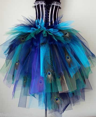 Blue Green Peacock Feather Burlesque Bustle Belt XS s M L XL Sexy Halloween…
