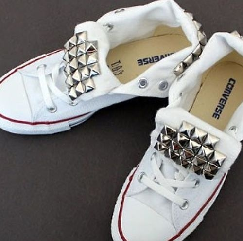 ab5c7f9f41ae Womens Studded Converse High Low Tops White Chuck Taylors Shoes Sz 5 ...