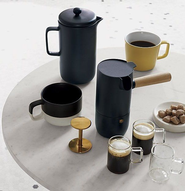 Black magic. Porcelain pot steeps in modern style. Remove stainless steel plunger and body becomes perfect pitcher to pour freshly-pressed coffee. An edgy update to the classic. Roast Matte Black French Press is a CB2 exclusive.