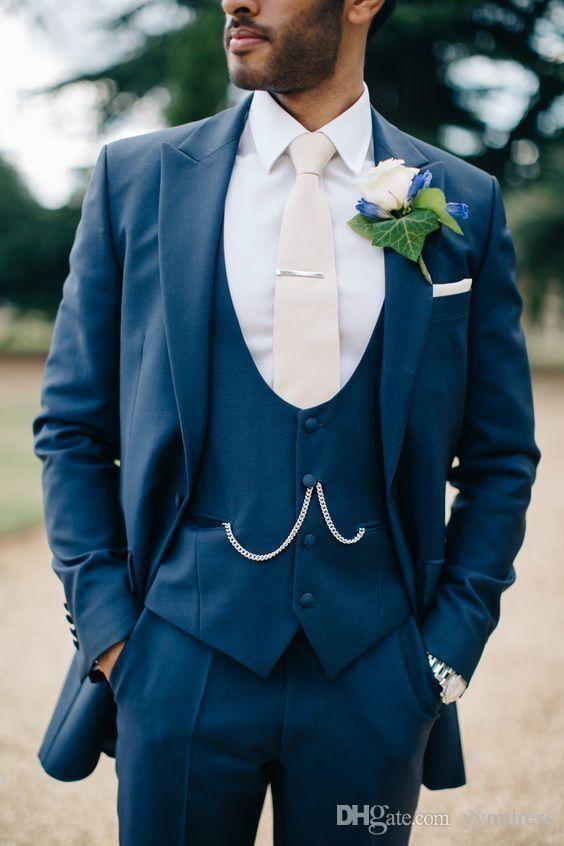 Blue Groom Wear Groomsmen Suits 2019 Modest Slim Fit Mens Business Suit Jacket Pants Vest Men s Suits Wedding Suits Groom YY2123
