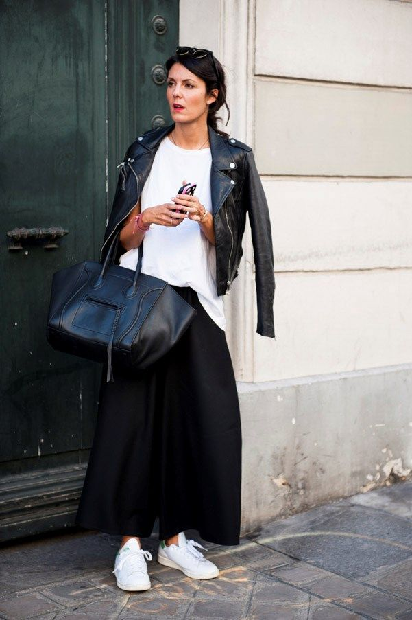 Stan Smith kicks with a white tee, leather moto, and Celine tote.