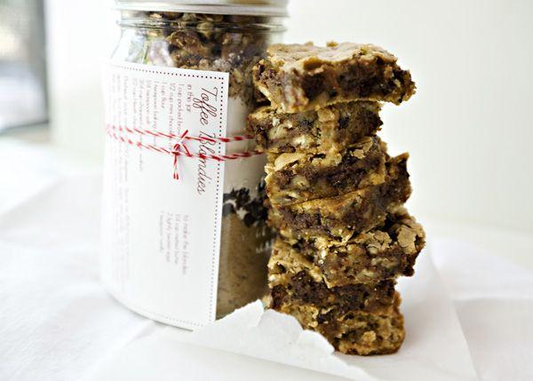Christmas gift!: Toffee Blondies, Sweet, Recipe, Giftideas, Gift Ideas, Christmas Gift, Gifts In A Jar, Dessert