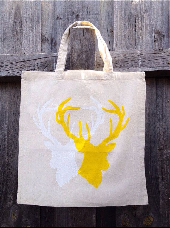 Oh deer silhouette hand stenciled & screen Printed Cotton Tote Book Shopping Laptop Bag on Etsy, $25.00 AUD