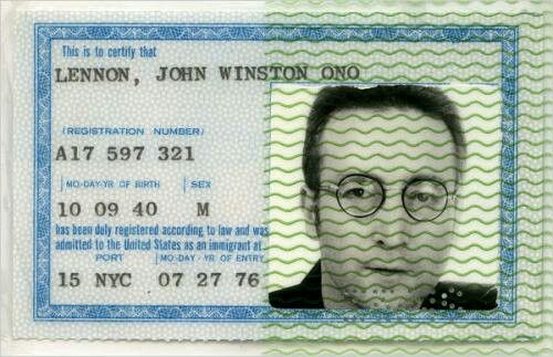 John Lennon's green card.