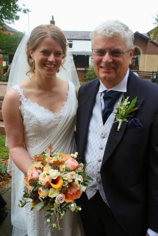 The Stunning Autumn Wedding Day of Sarah - me and Dad. Unza Pronovias wedding dress
