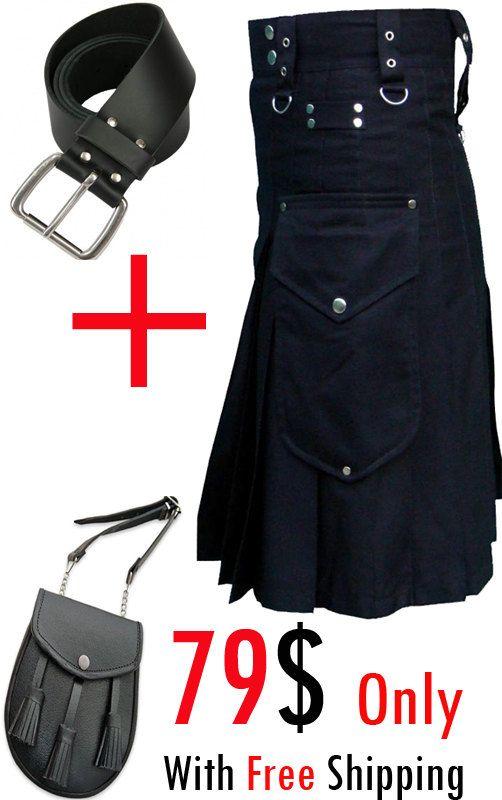 Cargo Kilt,Kilt Belt,Leather Sporran,Utility cargo kilt,
