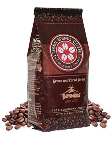 Eternal Spring WHOLE BEAN Coffee, (71 Servings Per Bag) Single Origin Coffee, 100% Colombian Coffee from Nariño - 17.6 Ounce Bag - http://teacoffeestore.com/eternal-spring-whole-bean-coffee-71-servings-per-bag-single-origin-coffee-100-colombian-coffee-from-narino-17-6-ounce-bag/