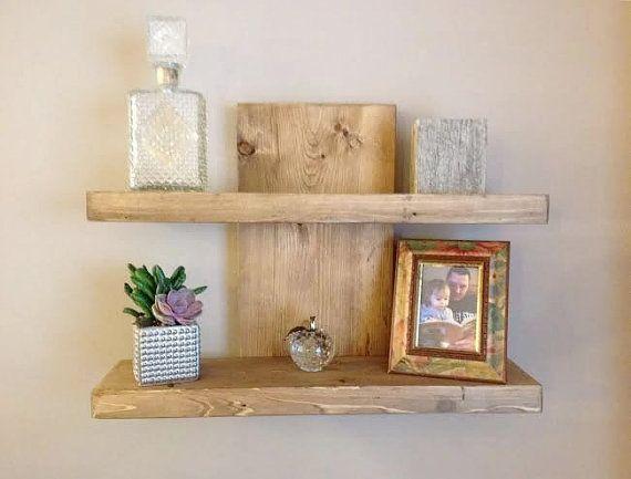 Rustic Wall Shelf - Floating 2 Tier Wall Shelf - Modern, Stylish, Wood Shelf, Contemporary