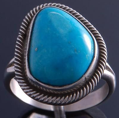 Size 8-1/2 Silver Smokey Valley Turquoise Stylish Ring by Erick Begay 7D21L