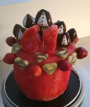 "Tried this watermelon ""cake"" yesterday: 5/20/2013 for my 2 y/o's birthday party.  It was a hit.  Did not do the choc covered strawberries and made a three layer cake instead.  Decorated with blackberries, strawberries, grapes and mango.  Used a star cookie cutter to make decorative cut out watermelon stars."