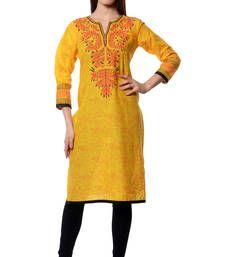 Buy Yellow printed  Cotton kurtas-and-kurtis kurtas-and-kurti online