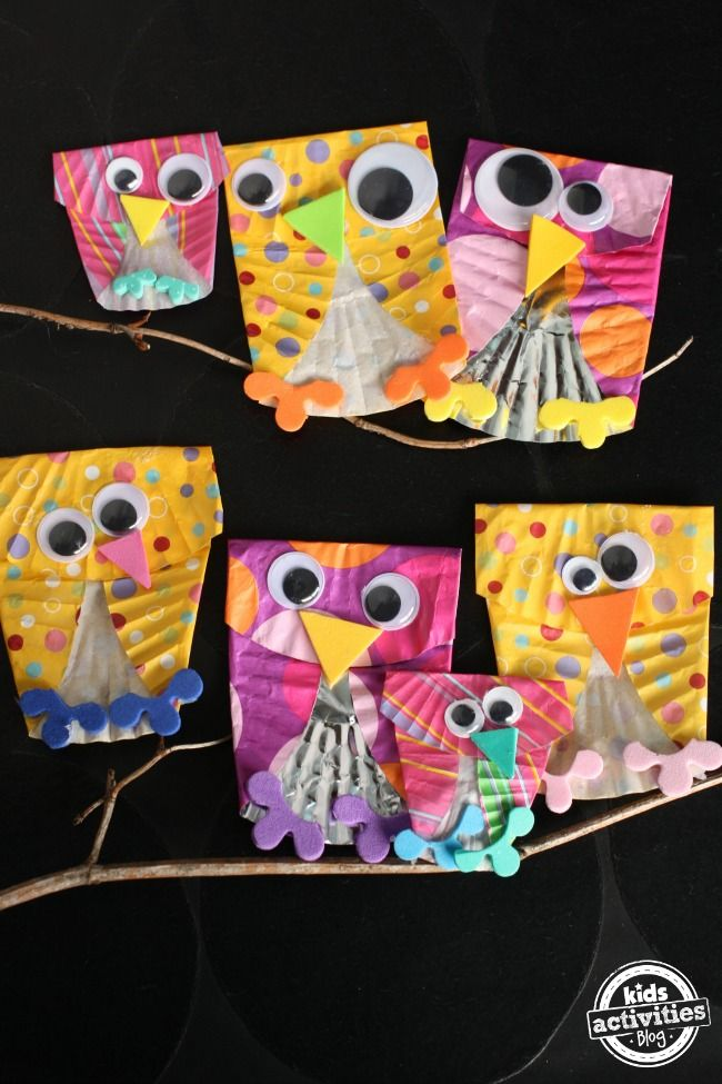 Cupcake Liner Owls - Happy Hooligans for Kids Activities Blog