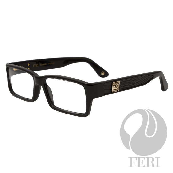 - Blue acetate optical glasses - Embellished with genuine lizard skin - FERI plate on both outer arms - Rectangular frame shape - Comes with non-prescription plano lens  *FERI Optical glasses DO NOT come with prescription lenses. Please take the frames to your Optician to have your custom prescription lens installed.*  Invest with confidence in FERI Designer Lines.