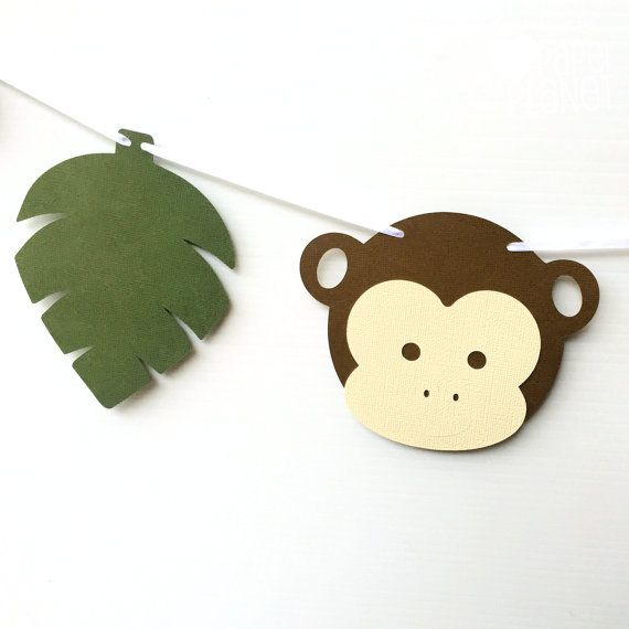 Jungle Monkey Party Banner. Bunting, Garland. Original design. Cheeky Little Monkey party decorations handmade by MyPaperPlanet on Etsy