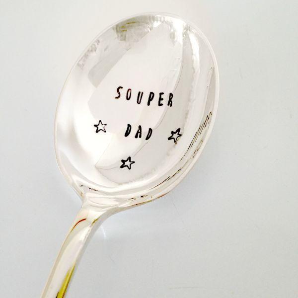 Hand-stamped souper dad vintage soup spoon