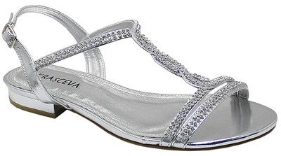 Details about SILVER DIAMANTE FLAT LOW HEEL PROM EVENING WEDDING