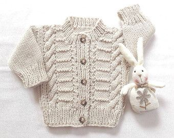 Baby cardigan 0 to 6 months Baby shower gift by LurayKnitwear