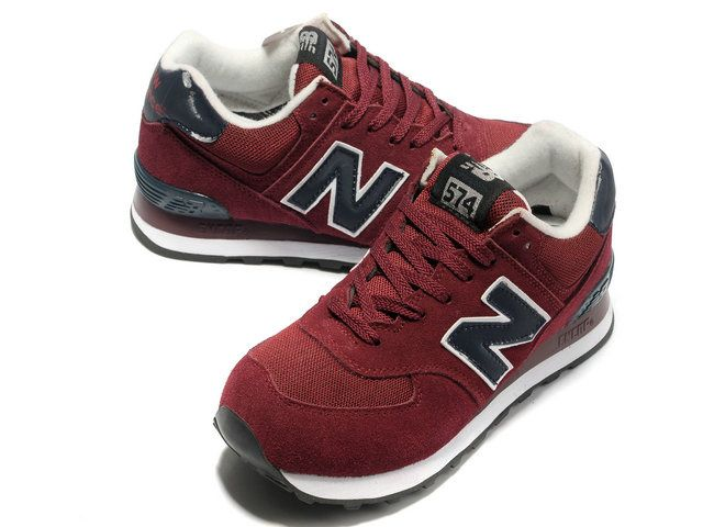 New Balance NB 574 classic purplish Red Black For Men shoes