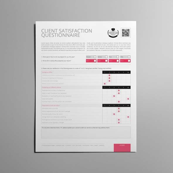 Client Satisfaction Questionnaire Template US Letter | CMYK & Print Ready | Clean and Corporate Design | US Letter Portrait Format | 2 Pages | Easily color change (Global Swatch)