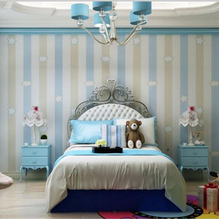 Beibehang 3D Wallpaper Childrenu0027s Room For Boys And Girls Warm Minimalist  Bedroom Pink Blue Vertical Stripes