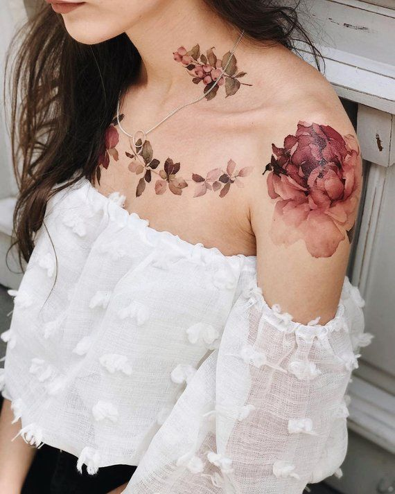 Violet Peony Fake Tattoo / Birthday Gift for Her / Large pink flower tattoo / Sleeve tattoo f…