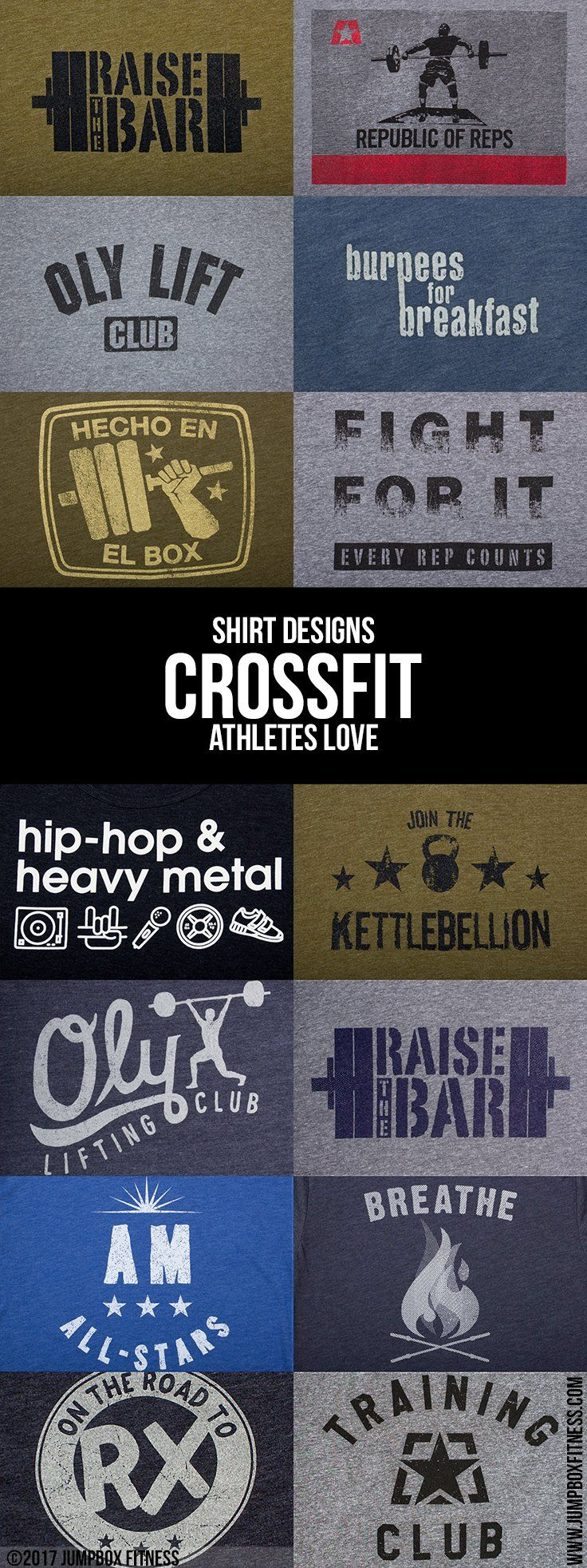 More Shirt Designs Crossfit Athletes Love - Jumpbox Fitness - Gym Workout t-shirts, tank tops, and hoodies - Great for Crossfit, weightlifting, kettlebell, strength training athletes. Funny workout shirts, motivational, and more.