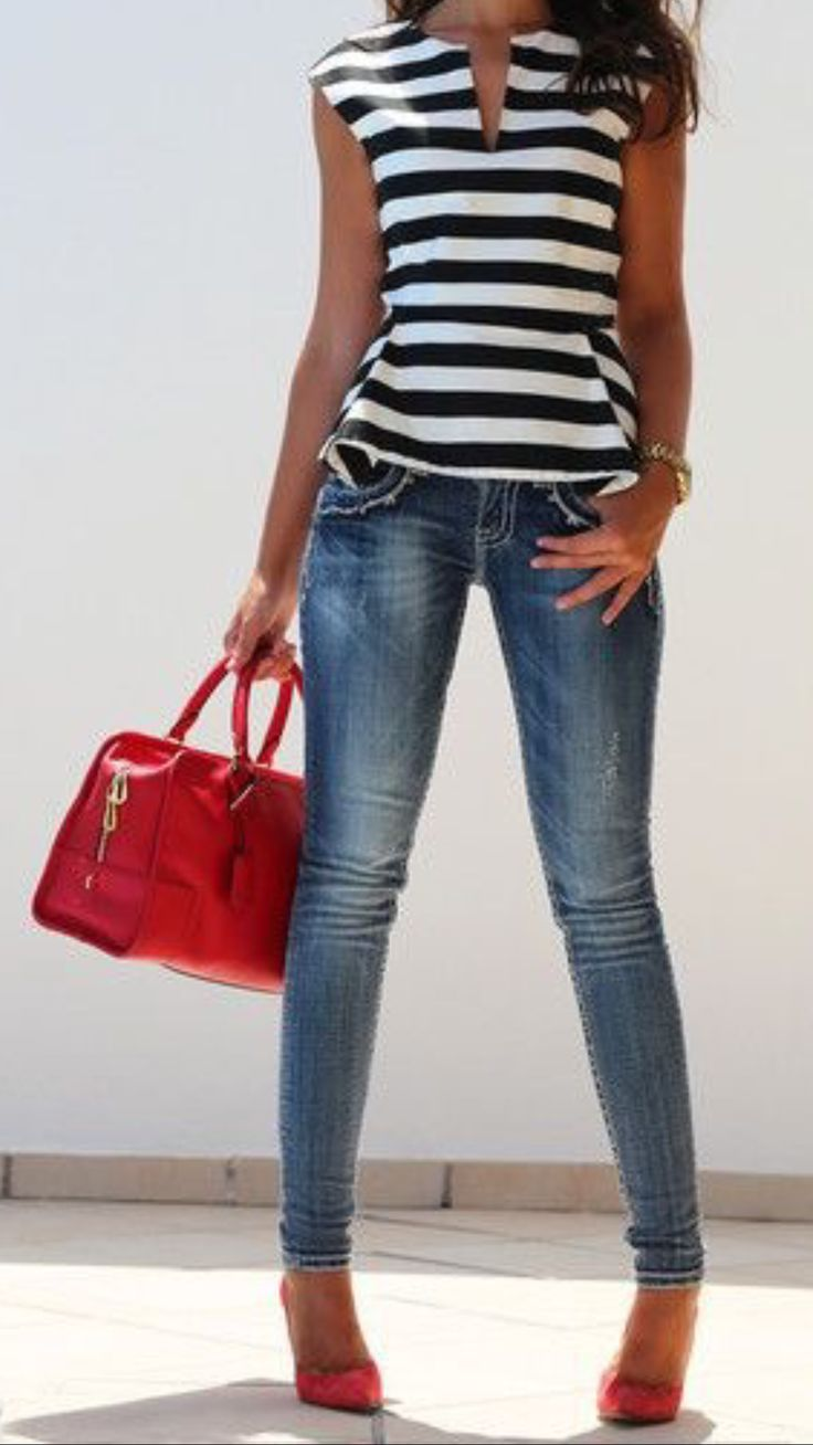 Peplum striped top, skinny jeans, red bag & shoes.