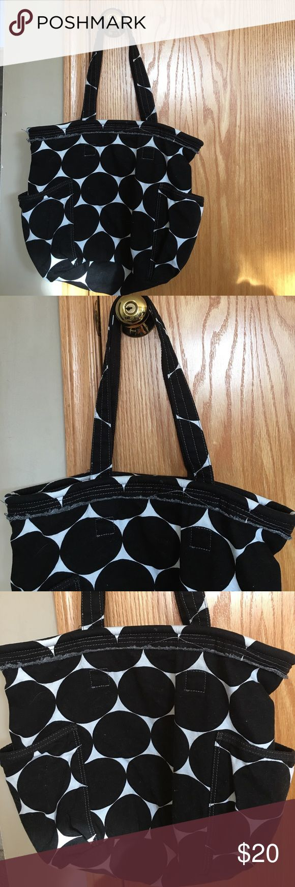 Thirty One Retro Metro Bag Thirty One retro metro bag. Black and white polka dot pattern. Used with lots life left. Description in photo 4 thirty one Bags Totes