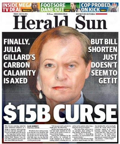 Cover of the Herald Sun after Australian Labor leader Bill Shorten pledged to take an emissions trading scheme to the next election. This picture shows his face merged with ex-Labor colleague and former PM Julia Gillard  | #AusPol