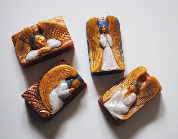 Handmade  4 Angel soaps  looks like carved  Christmas by NerdySoap