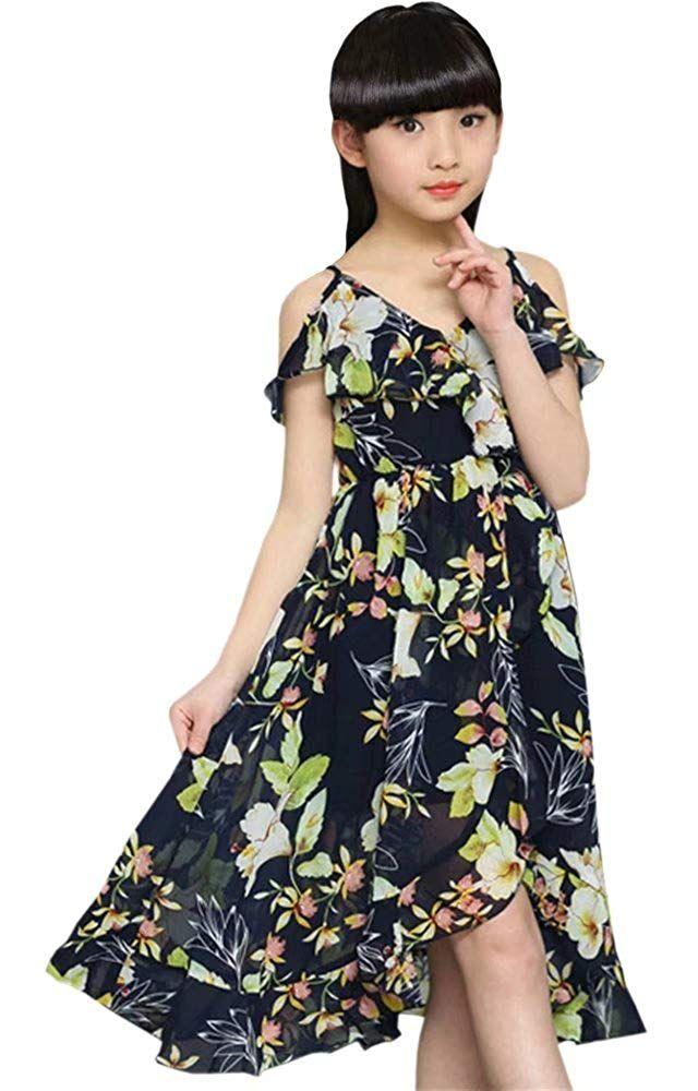 cc276a3e041e Amazon.com: BINPAW Girl's Spaghetti Strap Off Shoulder Hawaiian Flowers  Maxi Beach Dress.