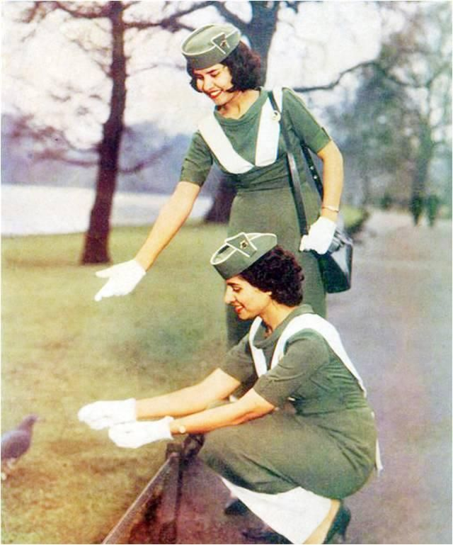 Air stewardesses of PIA(Pakistan international airlines) on a foreign tour during 1960s