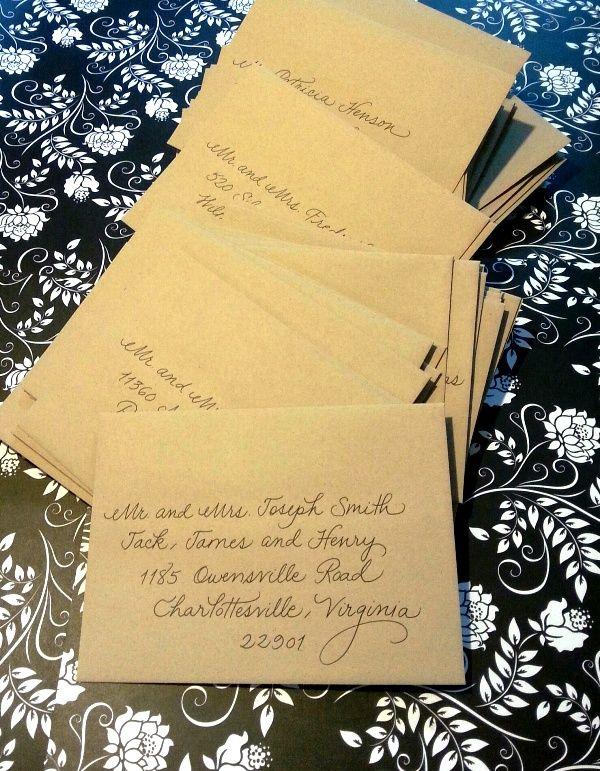 my fancy script on kraft paper envelopes calligraphy