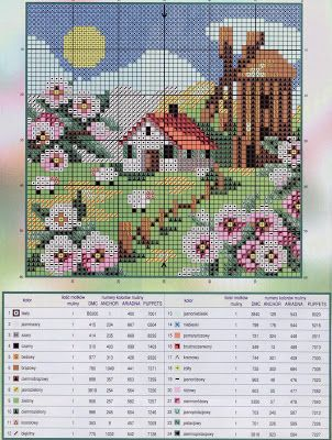 House in all seasons 1 of 4 - free cross stitch pattern
