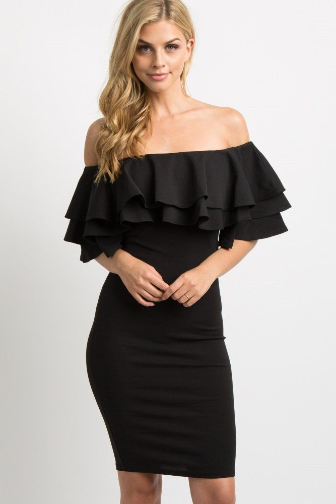 88c16dd1fcab9 Black Layered Ruffle Off Shoulder Fitted Dress A solid hued, off shoulder dress  featuring an elastic neckline with a layered ruffle trim, short bell sleeves  ...